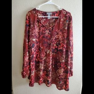 Catherine's Red Paisley Boho Peasant Tunic Top